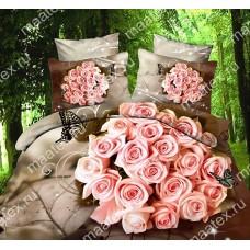 """Комплект постельного белья """"Букет роз"""" Сатин 3D (100% длинноволокнистый хлопок)"""